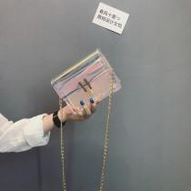 Bag Inclined shoulder bag PVC Jelly bag Other / other Laser color brand new Japan and South Korea Mini leisure time hard Buckle no Solid color Single root Straddle shoulder Yes youth Square box Handling handle polyester fiber Mobile phone bag certificate bag