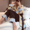 Pajamas / housewear set female Other / other M L Picture color Polyester (polyester) Long sleeves sexy trousers youth 3 pieces silk