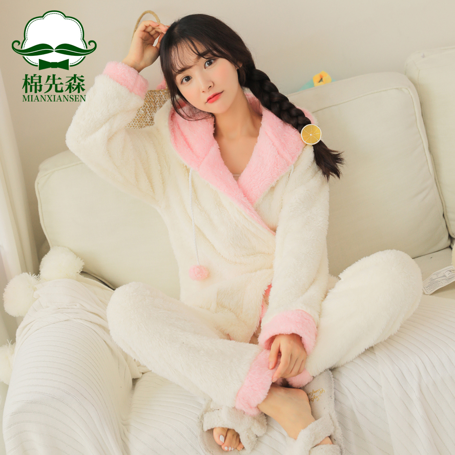 Pajamas / housewear set female Other / other M L XL Light yellow light pink Polyester (polyester) Long sleeves Sweet pajamas winter thickening Hood Solid color trousers Tether youth 2 pieces rubber string More than 95% Coral velvet fabric Embroidery