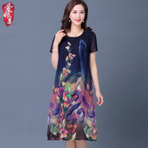 Middle aged and old women's wear Summer of 2018 XL recommends 100-115 Jin, 2XL recommends 115-130 Jin, 3XL recommends 130-145 Jin, 4XL recommends 145-160 Jin Red Navy fashion Dress easy singleton  Flower and bird pattern 40-49 years old Socket thin Crew neck routine D19461 OTHER silk Medium length