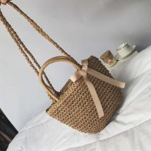 Bag The single shoulder bag grass other Other / other Khaki black brand new ethnic style travel soft Strip extraction no Solid color Double root One shoulder hand youth other bow polyester cotton