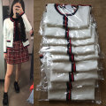 Wool knitwear S M L Fall of 2018 White black Long sleeve Cardigan Short paragraph Single conventional sweet Loose conventional Colorblock Low round neck other 31% (inclusive) -50% (inclusive) Single-breasted Stitching nail bead
