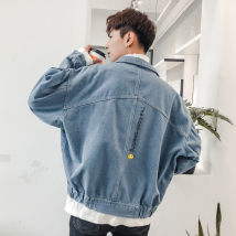 Jacket Other / other Youth fashion Light blue dark blue 4XL 5XL M L XL 2XL 3XL routine easy Other leisure autumn Long sleeves Wear out Lapel tide youth routine Single breasted 2018 No iron treatment Bat sleeve Solid color cotton More than 95%