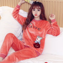 Pajamas / housewear set female Other / other Pay attention to the store and give small gifts YL × 553 brick red page Polyester (polyester) Long sleeves Sweet pajamas winter thickening Crew neck Cartoon animation trousers Socket youth 2 pieces rubber string More than 95% Coral velvet fabric Embroidery