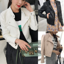 leather clothing Spring 2018 Pink White Black S M L XL 2XL Other / other Short paragraph Self-cultivation Long sleeve zipper Commuting Standing collar conventional Washed leather 18-24 years old PU