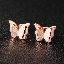 Ear Studs Titanium steel 51-100 yuan Other / other Rose Gold Gold Silver brand new Japan and South Korea female goods in stock Fresh out of the oven Not inlaid Butterfly / Dragonfly / insect