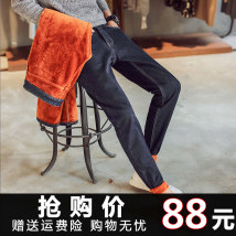 Jeans Youth fashion Others 27 28 29 30 31 32 33 34 36 9023 blue city thick Micro bomb Plush denim 9023 blue city trousers Other leisure winter youth middle-waisted Slim feet tide 2017 Pencil pants zipper washing Three dimensional tailoring monkey