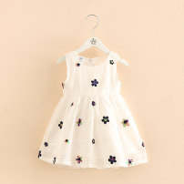 Dress white Other / other female 90cm 100cm 110cm 120cm 130cm Cotton 95% other 5% summer other Skirt / vest Broken flowers cotton other Floral skirt Class B