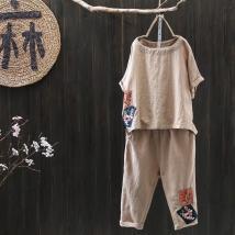 T-shirt Orange pants off white pants orange pants dark blue dark blue off white Average size Summer of 2018 Short sleeve Crew neck easy Regular Bat sleeve commute hemp 86% (inclusive) -95% (inclusive) literature Sticking cloth