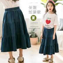 skirt White blue 110cm 120cm 130cm 140cm 150cm 160cm Other / other female Cotton 90% other 10% summer skirt Korean version Solid color Splicing style Cotton denim Class B
