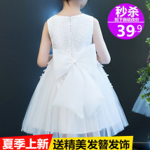 Children's dress White pink female 100cm 110cm 120cm 130cm 140cm 150cm 160cm Young girl Evening dress eight thousand eight hundred and ninety-six Class B pure cotton Cotton 75% polyester 25%