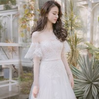 Wedding dress Spring of 2018 Qi Di SMLXL Korean version Small tail zipper Outdoor Lawn  Three dimensional cutting HS1801181 18-25 years old flower Sleeved shawl Magnificent and elegant Pure e-commerce (online only) Polyester 96% other 4% 96% and above