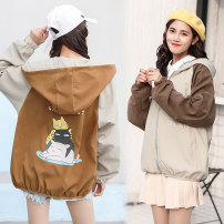 short coat Spring of 2018 S M L XL Back Portrait pink apricot ginger Long sleeves have cash less than that is registered in the accounts routine singleton  easy Versatile Bat sleeve Hood zipper Cartoon animation 18-24 years old Pocket zipper panel print