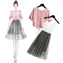 Dress Summer of 2018 Pink SMLXL Mid length dress Two piece set Short sleeve commute Crew neck High waist stripe Single breasted A-line skirt bishop sleeve Others 25-29 years old Type A Onedawm / Chuli Korean version Lace up pleated mesh eighty-five thousand five hundred and thirty-three Other 100%
