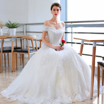 Wedding dress Summer of 2018 Tailing XSSMLXL Korean version Fluffy skirt Bandage Hotel Interior One shoulder Lace Three dimensional cutting X-012 middle-waisted 18-25 years old flower Sleeveless shawl Lansteina Large size Pure e-commerce (online only) Handmade flowers