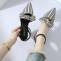 Sandals 35 36 37 38 39 Black apricot Other / other PU Baotou Thick heel Middle heel (3-5cm) Summer of 2018 Flat buckle Korean version Solid color daily