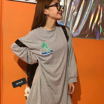 T-shirt White grey black Average size Summer of 2018 Long sleeves Crew neck easy Medium length routine commute cotton 51% (inclusive) - 70% (inclusive) 18-24 years old Korean version other Other / other