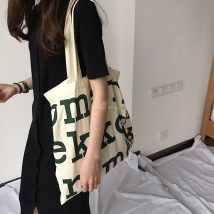 Bag The single shoulder bag canvas Tote Bag Other / other Pure cotton grey cloth with black spots natural cotton shell care to pat black upgrade zipper Green Upgrade zipper Navy upgrade zipper green black Navy brand new Japan and South Korea large leisure time soft yes written words Double root youth