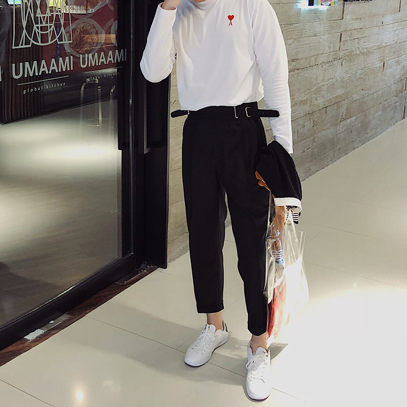Western-style trousers Others Fashion City black M L XL 2XL trousers Tapered pants autumn leisure time youth Simplicity in Europe and America Solid color 2018 wool
