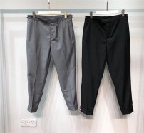 Casual pants TB Youth fashion Gray, black S,M,L,XL,Xs/0 routine Ninth pants Other leisure Self cultivation Micro bomb Four seasons youth Business Casual 2020 middle-waisted Straight cylinder Inlay / stick stripe other wool cotton Less than 30%