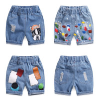 trousers Other / other male Denim dog (shorts) denim square (shorts) denim color paint (shorts) denim hole (shorts) denim smile (shorts) summer shorts