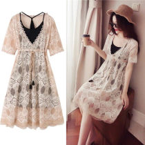 Dress Summer of 2018 Random gift Khaki off white S M L XL 2XL 3XL 4XL Mid length dress Two piece set Short sleeve commute V-neck middle-waisted Solid color Socket Ruffle Skirt routine Others 18-24 years old Other / other Korean version 71% (inclusive) - 80% (inclusive)