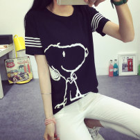 T-shirt black MLXL Summer 2017 Short sleeve Crew neck easy Regular routine commute 18-24 years old Korean version originality Animal design printing