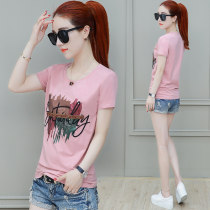 T-shirt Pink White Black SMLXLXXL Summer of 2018 Short sleeve Crew neck Self cultivation have cash less than that is registered in the accounts routine commute 25-29 years old Korean version originality Letter hand painted solid color matching Yefansha 9839# 3D Sequin printing