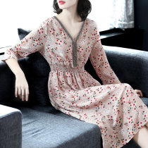 Dress Spring of 2018 Pink SMLXL2XL Mid length dress singleton  three quarter sleeve commute V-neck Elastic waist Decor Socket Big swing routine Others