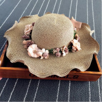 Hat Straw weaving Cap circumference for children - 52cm, cap circumference for adults - 57cm Straw hat Spring summer autumn female Sweet and lovely