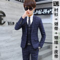 man 's suit Youth fashion Plaid blue suit suit suit vest shirt tie tie tie belt Eitebarry / aiterbury routine XL32 XF-202 Polyester 70.3% viscose 29.7% Spring of 2018 Pure e-commerce (online only)