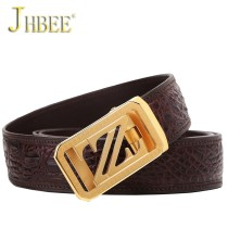 Belt / belt / chain Crocodile leather Brown black JHBEE belt male Wild Automatic buckle stainless steel 04201 youth Glossy 105cm110cm115cm120cm125cm130cm Spring and summer of 2018
