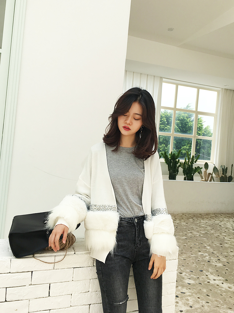 Wool knitwear Autumn of 2018 Average size Black and white Long sleeves singleton  Cardigan other 30% and below Regular routine commute easy Solid color