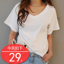 T-shirt White gray black SML XL 2XL 3XL 4XL Short sleeve Summer 2017 V collar Loose conventional Commuting cotton 18-24 years old 96% and above