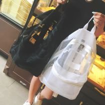 Backpack PVC Other / other Black 48 hours delivery white 48 hours delivery brand new large zipper leisure time Japan and South Korea soft youth yes Yes