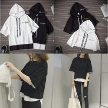 Sweater / sweater Summer of 2018 Old five D09 white old five D09 black white 816 special price gray black M L XL 2XL Short sleeve Socket routine Hood