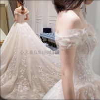 Wedding dress Spring of 2018 Picture color level 1 picture color trailing 2 XXL XXL other sizes are made to order, XS S M L XL is not replaced Korean version Long tail Bandage Hotel Interior One shoulder Gridding yarn Three dimensional cutting 066 middle-waisted 18-25 years old flower pregnant woman