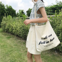 Bag handbag canvas Swallow bag Other / other Pull buckle bag in stock (one black and white shoulder strap each) letter printing