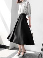 skirt Autumn of 2018 S M L XL Check black Mid length dress Versatile High waist Umbrella skirt Solid color Type A
