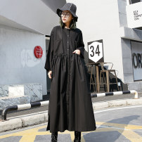 Dress Autumn of 2018 black Average size longuette singleton  Long sleeves street stand collar Loose waist Solid color Single breasted other other 25-29 years old Type A Pleated pocket 1896# 51% (inclusive) - 70% (inclusive) other cotton Europe and America