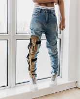 Jeans Youth fashion SAINT MANSHION 30 32 34 Wash blue Micro bomb Regular denim trousers Other leisure Medium low back zipper washing cotton