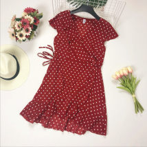 Dress Summer of 2018 White yellow red black Average size Mid length dress singleton  Short sleeve commute V-neck middle-waisted Dot other Ruffle Skirt Flying sleeve Others Type X Other / other Korean version 81% (inclusive) - 90% (inclusive) Chiffon