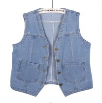 Vest Summer 2020 Light blue, dark blue S,M,L,XL,2XL,3XL have cash less than that is registered in the accounts V-neck Versatile Solid color Single breasted other 18-24 years old 51% (inclusive) - 70% (inclusive) cotton cotton
