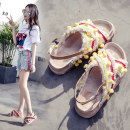 Sandals 35 36 37 38 39 40 Yellow red Other / other PU Barefoot Muffin bottom Middle heel (3-5cm) Summer of 2018 Flat buckle Lolita Color matching daily