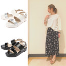 Sandals 36 37/M 38/L Beige white black Other / other PU Barefoot Muffin bottom Middle heel (3-5cm) Summer 2017 Flat buckle solar system Color matching Adhesive shoes Youth (18-40 years old) rubber daily Front and rear trip strap Color matching muffin and waterproof table Low Gang Hollow PU PU