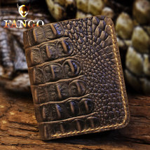 wallet Short Wallet cowhide Sanskrit fruit Crocodile brown crocodile Black Crocodile blue brand new Retro male Exposure Solid color 90% off Erect funds youth Large banknote holder Crocodile pattern genuine leather F041 top layer leather