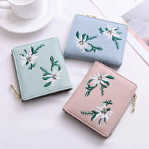 wallet other PU Ni Wei Er / Neville Lotus root powder light green lake blue black brand new Japan and South Korea female Zipper buckle Plants and flowers 80% off Horizontal style youth Large banknote holder, photo slot, change slot Embroidery synthetic leather 6502D synthetic leather