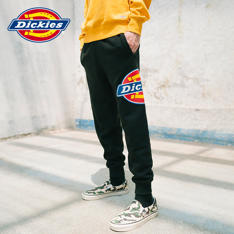 sweatpants  Straight cylinder S M L XL 2XL teenagers trousers Youth fashion Dickies black Other leisure autumn tide Plush and thicken 2020 DK006866E middle-waisted Little feet Micro bomb Cotton 70% polyester 30% Autumn 2020 Same model in shopping mall (sold online and offline)