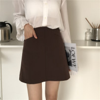 skirt Autumn of 2018 S M L Picture color Short skirt commute High waist A-line skirt Solid color 18-24 years old M3307 Korean version