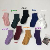 Socks / base socks / silk socks / leg socks female Other / other Average size Girl Pink Light Purple Royal Blue Deep Purple turmeric Retro Red dark green white gray black 1 pair Middle cylinder autumn Sweet Solid color M1779
